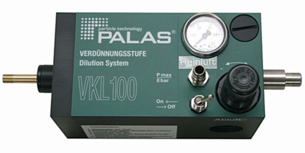 VKL 100: Verdünnungssystem mit Verdünnungsfaktor 1:100, Konzentration von Aerosolen